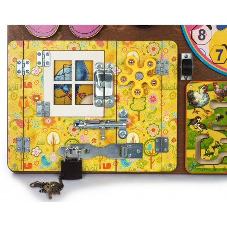 BusyBoard. Развивающая доска №2 арт.7903 для девочек (40х50,пазлы,шнур.,магн.часы,лабиринт) дер./8