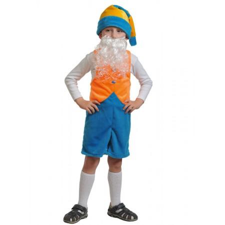 """Карнавальный костюм """"Гномик-2"""" В комплект входят: полукомбинезон, колпак, борода.  Возраст: 3-6 лет, рост 92-122 см."""