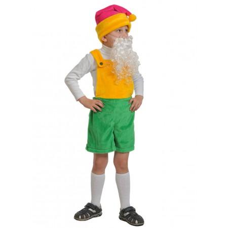 """Карнавальный костюм """"Гномик-1"""" В комплект входят: полукомбинезон, колпак, борода. Возраст: 3-6 лет. Рост 92-122 см. Размер шапочки: 53-56 см."""