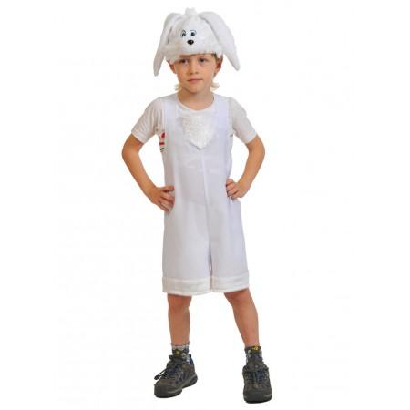 """Карнавальный костюм """"Зайчик белый"""" В комплект входят: полукомбинезон, маска.  Возраст: 3-6 лет, рост 92-122 см."""