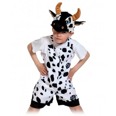 """Карнавальный костюм """"Бычок""""В комплект входят: полукомбинезон (ткань - габардин, отделка - плюш), маска (плюш). Возраст: 3-6 лет, рост: 92-122."""