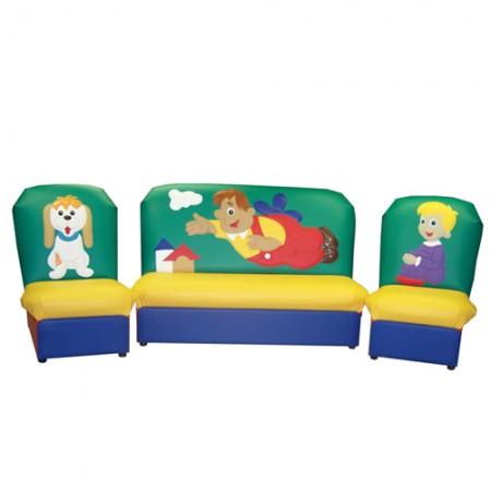 «Сказка» комплект детской мягкой мебели Челевечек с моторчиком зелено-желтый