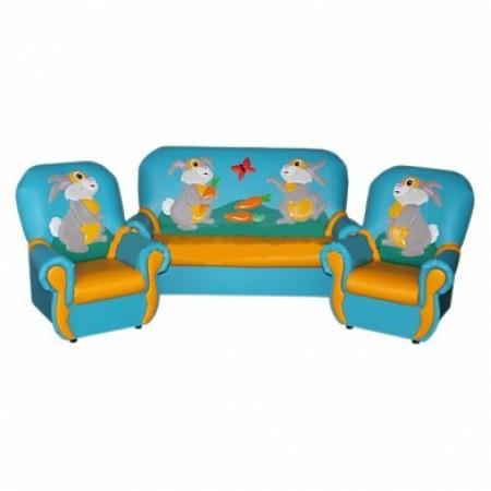 """""""Сказка люкс"""" комплект детской мягкой мебели Зайчата голубо-желтый."""