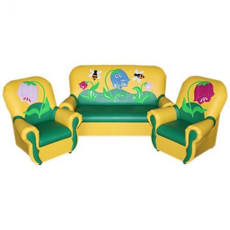 """""""Сказка-люкс"""" комплект детской мягкой мебели """" Колокольчики желто-зеленый а."""