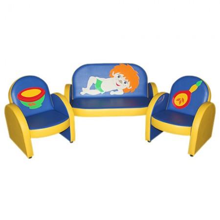 """""""Малыш с аппликацией"""" комплект детской мягкой мебели Антошка сине-желтый."""