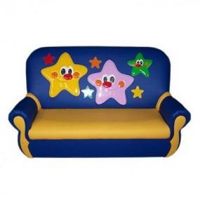 """""""Сказка люкс"""" детский диван Звездочки сине-желтый."""