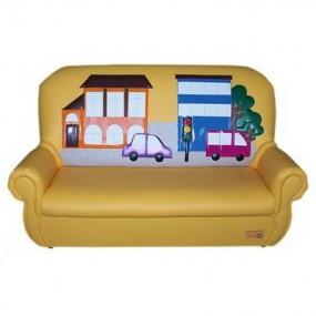 """""""Сказка люкс"""" детский диван Город желтый."""